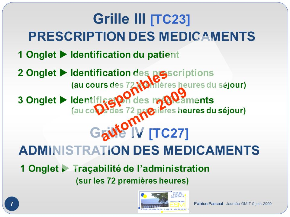 Grille III [TC23] PRESCRIPTION DES MEDICAMENTS